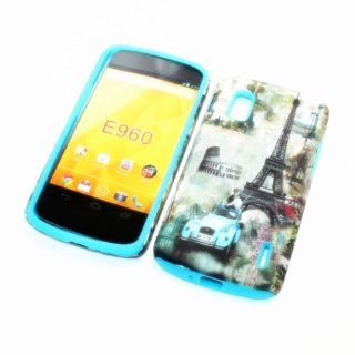 For LG Google Nexus 4/ LG E960 /Nexus 4/Optimus Nexus T Mobile 2 in 1 Hybrid Cover Case Eiffel Tower Paris & Classic Blue Car PC + Sky Blue Silicone Cell Phones & Accessories