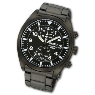 Mens Seiko Chronograph Black IP Stainless Steel Watch with Black Dial