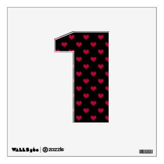 Ruby Red Hearts Number One 1 Wall Decal