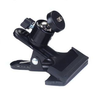Black Metal Photo Studio Flash Spring Clamp Clip Mount With Ball Head   Tripod Ball Head Mount