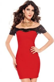 Women's Sexy Lace Neck Tunic Gown Slim Party Cocktail Evening Mini Dress (Red)
