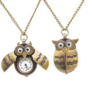 Art Deco Bronze Owl Clock/Watch Necklace By Kurtzy Jewelry