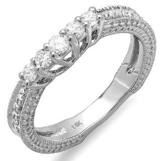 0.45 Carat (ctw) 14k White Gold Round Diamond Ladies Anniversary Wedding Band Guard Enhancer Ring 1/2 CT Jewelry