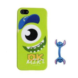 Euclid+   Light Green Monsters University Monster Inc. OK Mike Style TPU Soft Case Cover for Apple iPhone 5 5th 5g 5Generation with Stitch Style Cable Tie Cell Phones & Accessories
