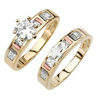 14K Tri color Gold High Polish Finish Round Princess Top Quality Shines CZ Cubic Zirconia Solitaire Ladies Engagement Ring and Wedding Band 2 Piece Set The World Jewelry Center Jewelry