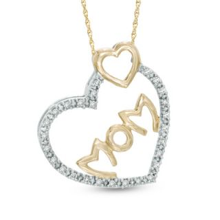 10 CT. T.W. Diamond MOM Double Heart Pendant in 10K Two Tone Gold