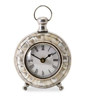 "5.75"" Analog Capiz Shell Desk Clock with Roman Numeral Face   Table Clocks"