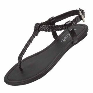 Luxury Divas Black Grecian Styled Braided Strap Thong Flat Sandal Shoe Shoes
