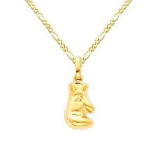 14K Yellow Gold Boxing Glove Charm Pendant with Yellow Gold 1.6mm Figaro Chain Necklace with Spring Clasp   Pendant Necklace Combination (Different Chain Lengths Available) The World Jewelry Center Jewelry