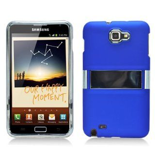 Blue Kickstand Chrome Hard Case Snap On Faceplate Cover for Samsung Galaxy Note i9220 Cell Phones & Accessories
