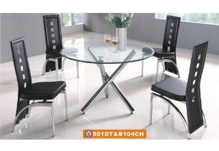 "American Eagle Furniture 501DT & B104CH 45"" Round Clear Glass Table With Black Leatherette Chairs Dining Set Home & Kitchen"