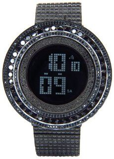 King Master 65.00ct Lab Made Diamond Watch Fully Iced Out Mens Digital Watch Black Stainless Steel Metal Band at  Men's Watch store.