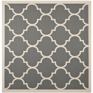"Easy to Maintain Safavieh Indoor/ Outdoor Courtyard Anthracite/ Beige Rug with Contemporary Geometric Pattern (7'10"" Square) Safavieh Round/Oval/Square"