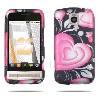 Premium   LG Optimus M MS690 3D Lovely Heart Rubber Design Protective Case (Carrier Metro PCS)   Faceplate   Case   Snap On   Perfect Fit Guaranteed Cell Phones & Accessories