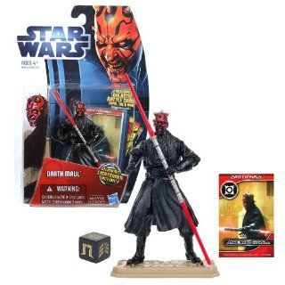 Hasbro Year 2012 Star Wars Movie Heroes Galactic Battle Game Series 4 Inch Tall Action Figure   MH15 DARTH MAUL with Double Bladed Red Lightsaber, Battle Game Card, Die and Figure Display Base Toys & Games