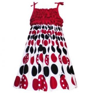 Size 5 RRE 29220S RED WHITE BLACK LADYBUG GRADIENT DOT PRINT RUFFLE BODICE Girl Party Dress, S329220 Rare Editions LITTLE GIRLS Clothing