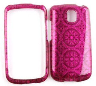 LG Optimus T P509 Transparent Design, Hot Pink Circular Patterns Hard Case/Cover/Faceplate/Snap On/Housing/Protector Cell Phones & Accessories