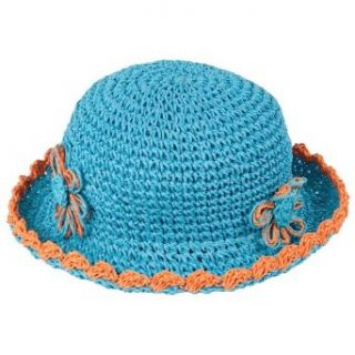 Luxury Lane Little Girls Turquoise Straw Sun Hat with Flower Accent Clothing