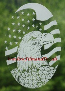 "Flag & Eagle Vertical Etched Window Decal Vinyl Glass Cling   15"" x 23""   Window Treatment Vertical Blinds"