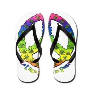 Artsmith, Inc. Women's Flip Flops (Sandals) Let Me Smoke in Peace Marijuana Neon Peace Symbol Sign Costume Footwear Clothing
