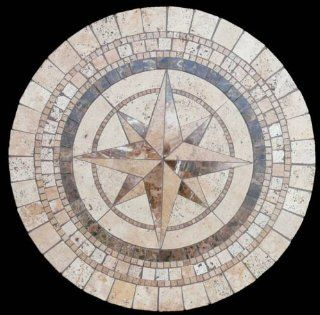 "Compass Natural Mosaic Stone Table Top 48"" Round   Coffee Tables"