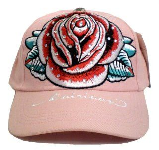 Tattoo Hat ~ Designer Red Rose Flower Tattoo Art Pink Baseball Cap With Embroidery and Rhinestone Crystals; Great Gift Idea for Men, Women, and Teens. (Unisex Hat) Toys & Games