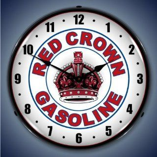 "Collectable Sign and Clock 1102300 14"" Red Crown Gas Lighted Clock Automotive"