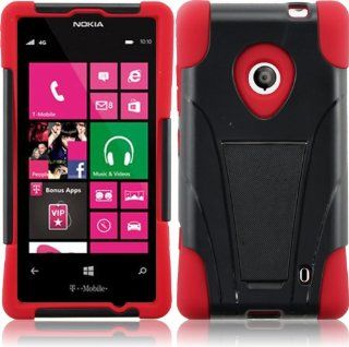 For Nokia Lumia 521 T Stand Impact Kickstand Hybrid Double Layer Fusion Cover Case Black/Red Cell Phones & Accessories