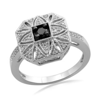 CT. T.W. Enhanced Black and White Diamond Vintage Style Ring in