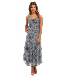 Jessica Howard Sleeveless Scoop Neck Multi Tier Dress Womens Dress (Navy)
