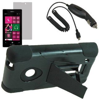 EagleCell Armor Video Stand Protector Hard Shield Snap On Case for T Mobile Nokia Lumia 521 Lumia 520 + Fitted Screen Protector + Car Charger Black Cell Phones & Accessories
