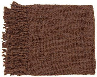 "Surya Tobias TOB 1009 Knit Hand Woven 70% Acrylic / 30% Wool Brown 51"" x 71"" Throw"