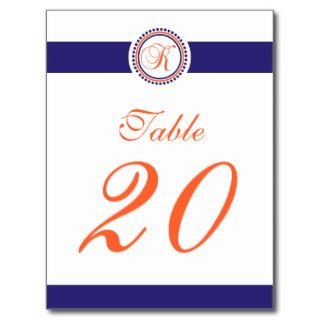 K Dot Circle Monogram Table Number (Navy / Orange) Post Card