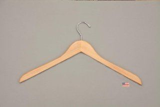 Solid Wood Hanger, Natural Finish, Commercial Grade, Box of 100   Standard Hangers