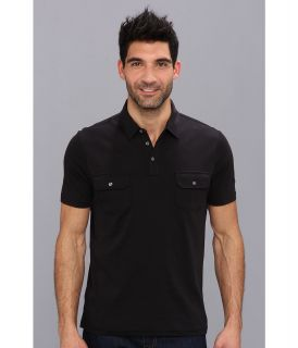 Perry Ellis S/S Cotton Patch Pocket Polo Mens Short Sleeve Pullover (Black)