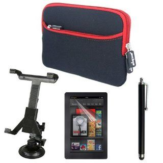Skque Black/Red Glove Sleeve Case + Clear Screen Protector Guard + Car Mount Holder + Capacitive Touch screen Stylus Pen for Kindle Fire, New Kindle Fire 2th 7 Inch Tablet Electronics