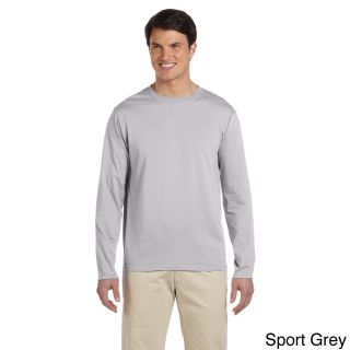 Gildan Mens Softstyle Cotton Long Sleeve T shirt Grey Size 3XL