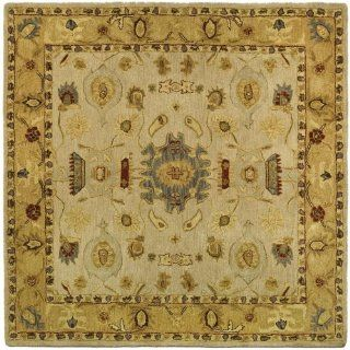 Safavieh AN543C Anatolia Collection 6 Feet Handmade Hand Spun Wool Square Area Rug, Ivory and Gold