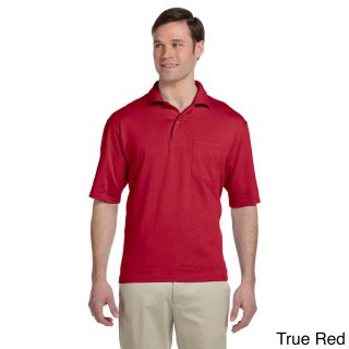 Jerzees Jerzees Mens Clean finished Pocket Polo Sport Jersey Red Size XXL