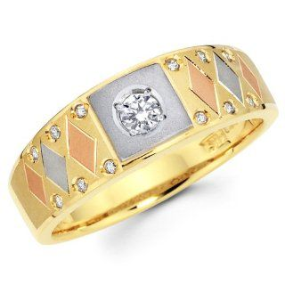 14K 3 Tri color Gold Round cut Diamond Men's Engagement Wedding Ring Band (0.24 CTW., G H Color, SI1 2 Clarity) The World Jewelry Center Jewelry