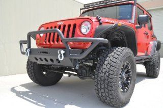 Black Jeep Wrangler JK Front Bumper Steel Off Road 2007 2013 Automotive