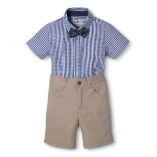 G Cutee Toddler Boys Short Sleeve Gingham Check Shirt and Short Set w/ Bowtie