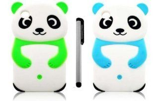 [Pack of 2] NanoCell4All Cute Panda Bear 3D Cartoon Soft Silicone Skin Case Cover for Ipod Touch 4 4th Generation (Neon Green, Aqua Blue) with NanoCell4All Capacitive Stylus Pen (Bundle 2 Panda Bear Silicone Cases and Stylus Pen)   Players & Acces