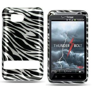Crystal Black Zebra Design Snap On Protector Hard Cover Case for HTC 6400 ThunderBolt Incredible HD (VERIZON) Cell Phones & Accessories