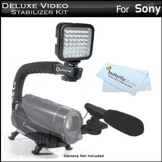 Deluxe LED Video Light + Mini Zoom Shotgun Microphone w/Mount + Video Stabilizer Kit For Sony HDR CX160, HDR CX560V, HDR CX700V, HDR HC9, HDR PJ10, HDR PJ30V, HDR PJ50V, HDR TD10, HDR XR160, HDR XR550V, NEX VG10, NEX VG20 Includes Handle + Microphone + LED