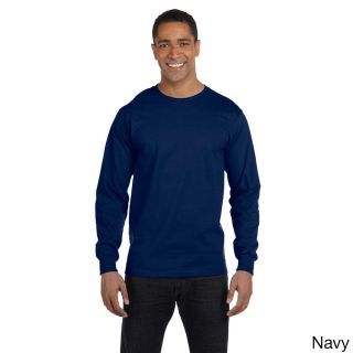 Gildan Mens Dry Blend Long Sleeve T shirt Navy Size 3XL