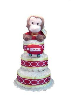 Curious George Gender Neutral Baby Shower Diaper Cake Gift Set  Baby Boy Trucks  Baby