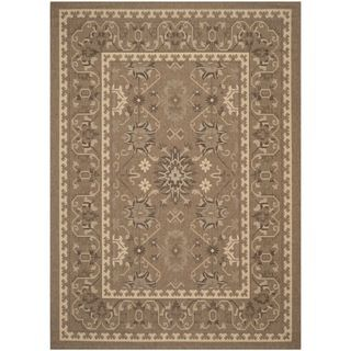 Safavieh Indoor/ Outdoor Courtyard Brown/ Cream Rug (8 X 11)