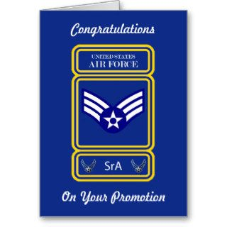 USAF Senior Airman Promotion Card Greeting Cards