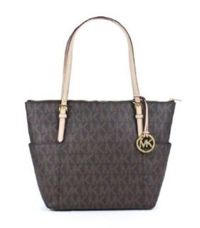 Michael Kors Jet Set EW Top Zip Tote PVC MK Signature Brown Shoes